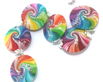 Rainbow marble beads, DIY jewelry gift for women, unique colorful rolling handmade polymer clay beads for bracelet and necklace, 6 pcs