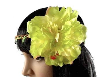 Green - wedding flower Crown headband