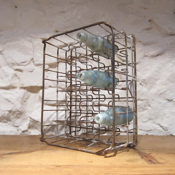 Industrial Vintage Bottle Rack Storage 1950s