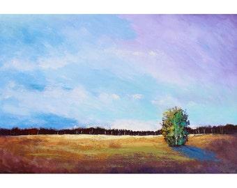 Abstraite impressionniste paysage peinture originale acrylique nouvel arbre arbres cloudscape nuages lavande skies grande toile 24 x 36
