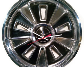 1966 Ford Mustang Hubcap Wall Clock - Classic Muscle Car - Mustang Running on Time