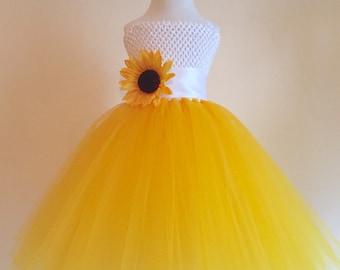 Sunflower tutu dress etsy sunflower tulle dress with matching headband set white and yellow sunflower party dress sunflower mightylinksfo