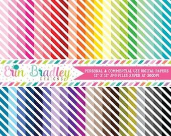 80% OFF SALE Striped Digital Paper Pack Bundle Set of 40 Digital Scrapbook Papers Commercial Use OK - Instant Download