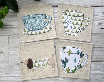 Coaster Set, Fabric Coasters, Housewarming Gift, Drink Coasters, Cactus Decor, Textile Coasters, Fabric Gift, Fabric Home Decor, Hot Pads
