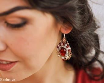 Bridesmaid earrings Wedding earrings chandelier Bridal earrings Bohemian earrings Silver wedding earrings Drop earrings red Dangle earrings