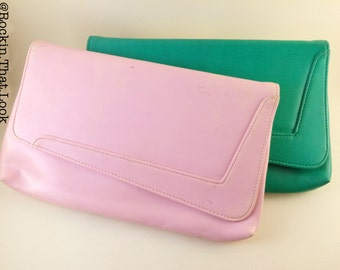 Light Pink and Green Purse Vintage Clutch