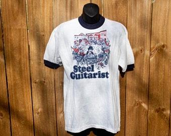 80s Steel Guitarist shirt - Vintage ringer tee - Soffe Company XL
