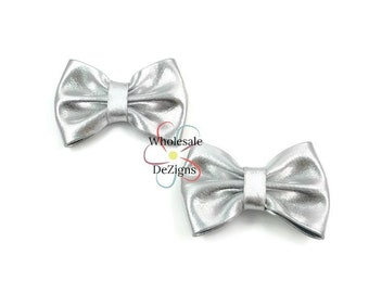 "Silver Metallic Shiny Bows - 3"" - 3 Inch - DIY Bows - DIY Headbands Hair Clips - Set of 2 Bows"