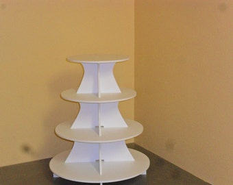 "Large 4 Tier Cake / Cupcake Stand 5"" PVC 9, 11, 13, 15"" plates"