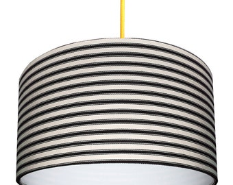 Ticking Stripe Handmade Lampshade in Inky Black