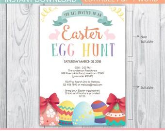 egg hunt invitation, easter egg hunt invitation, easter invitation, easter party, egg hunt, chalkboard invitation, easter eggs, easter bunny