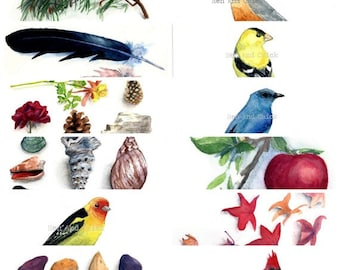2018 Calendar, Printable, Instant Download,  Watercolor Birds and Flowers