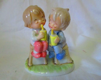 Limited Edition Vintage Lefton Little Adorables Figurine Fine Bone China Boy and Girl