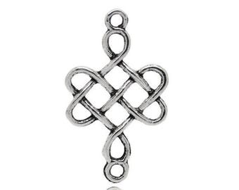 SET of 10 charms connector silver interlaced endless knot (C65)
