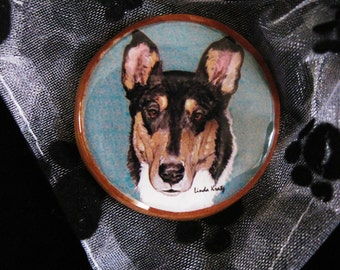 CLEARANCE - smooth collie original art pin or magnet