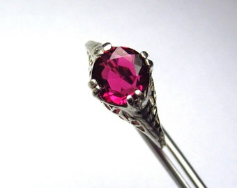 Wonderfully Brilliant Rubellite Tourmaline in a Intricate Filigreed Sterling Setting Size 6