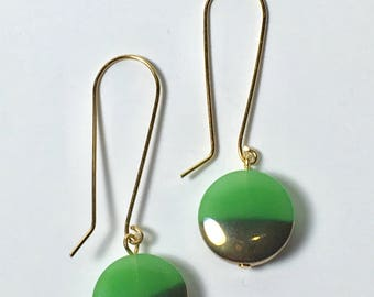 Green and Gold Drop Earrings, Vintage Glass Earrings, Gold Earrings, Statement Earrings