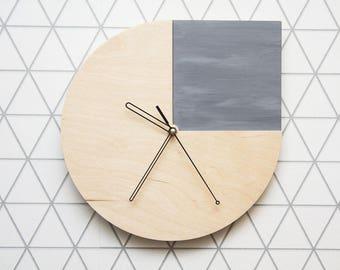 Wooden Wall clock ConcreteGray, hanging clock, wall clock, modern clock