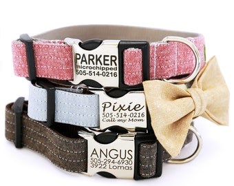 Personalized Engraved Metal Buckle Linen Dog Collar with Optional Bow Tie