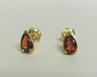 6mm Estate 10k Yellow Gold Natural Red Garnet Tear Drop Pear Earrings Studs 1ct Stud GS41-2