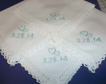 Intertwined hearts wedding handkerchief, hand embroidered, bridesmaid hankies, bouquet wrap, wedding favors, wedding colors welcome