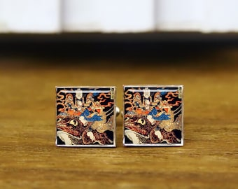 samurai cufflinks, samurai and giant frog, Kuniyoshi, Ukiyo cufflinks, custom wedding cufflinks, round, square cufflinks, tie clips, or set