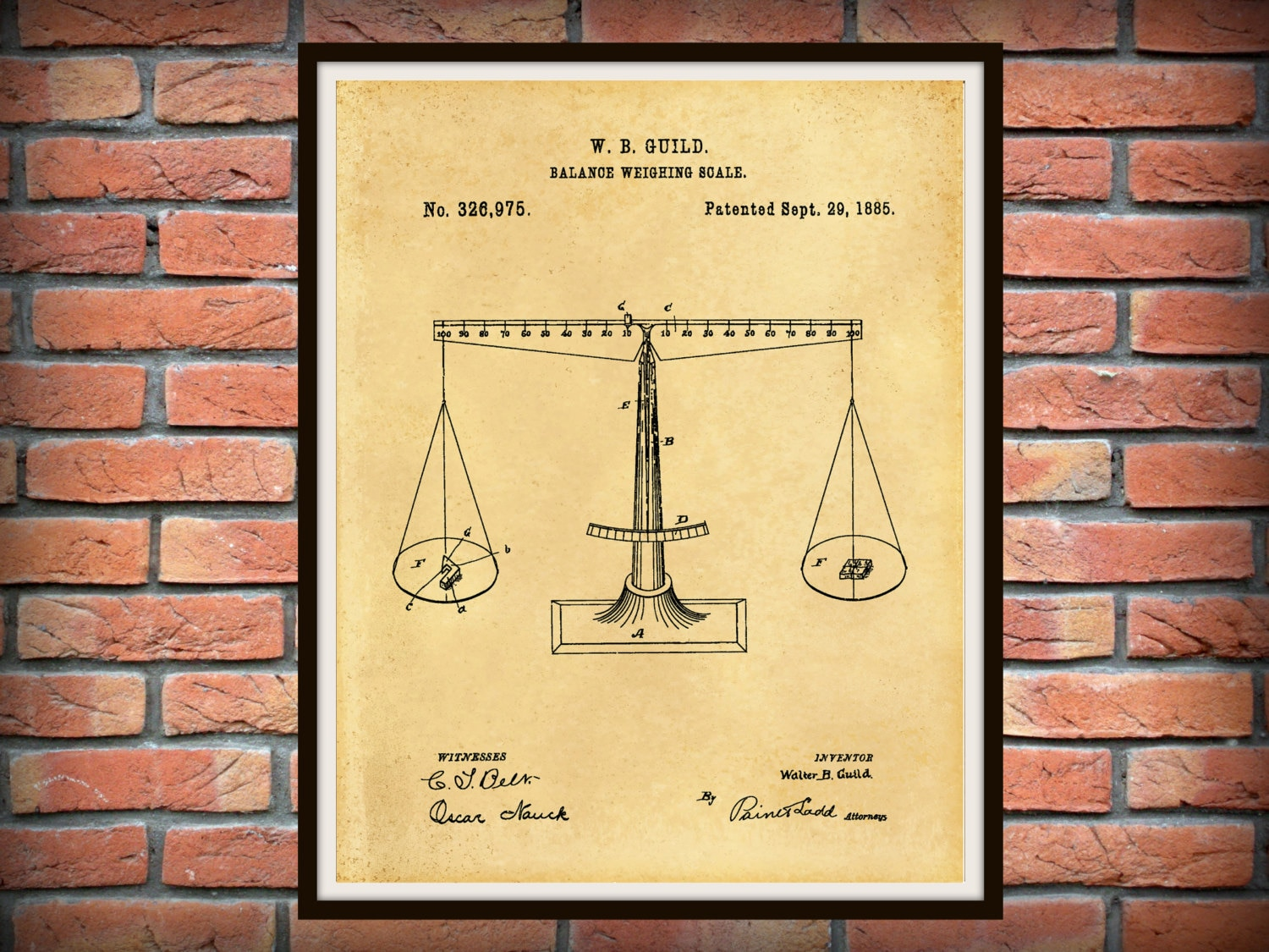 Vintage 1885 Balancing Scale Patent - Scales of Justice Art Print ...