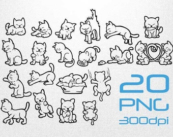 Cat Clipart // Cat Sketch // Cat Drawing // Cat Illustration // Clipart in PNG Transparent 300dpi