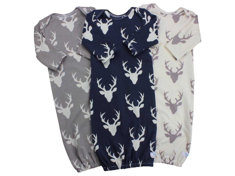 Buck Deer Baby Boy Gown Navy Deer Gown Gray Deer Boy Infant Gown ...