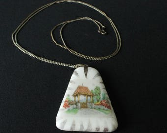 Porcelain Pagoda Necklace