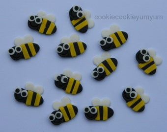 12 edible small BEES GARDEN INSECT bug cake cupcakes wedding topper decoration party wedding anniversary birthday valentine