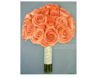Custom Wedding Bouquet Painting in OIL by LARA 5x7 Bright Floral