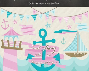 Sailboat Lighthouse Clipart Vector 12 Pack - 12 Sail Away Nautical Design PNG & EPS Vectors - Digital Scrapbook Boat Waves Sailing Clip Art