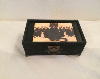 Black Cats Multi Compartment Keepsake Storage Jewelry Box