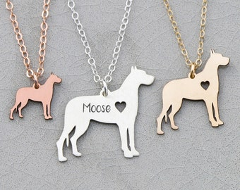 Great Dane Dog Necklace • Large Dog Charm • Dog Jewelry • Engraved Gold Pet • Engraved Charm Memorial Charm Custom Birthday Charm