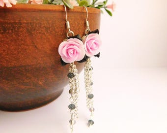Pink rose earrings Flower jewelry Tassel earrings Chain Long earrings Floral Pink black earrings Blush pink earrings Clay jewelry Small gift
