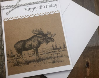 Moose Happy Birthday Card, Moose Birthday Card, Moose Card, Animal Happy Birthday Card, Animal Happy Birthday Card, Animal Birthday Card
