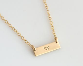 Dainty Heart Necklace, Mini Choker Necklace, Skinny Mini Bar Necklace, 14K Gold Filled, Sterling Silver, Gift for Her, LEILAJewelryShop