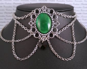 Handpainted green stone and silver chain choker necklace gothic victorian