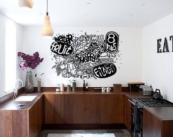 Wall Decal Room Sticker fruit water healthy food life style kitchen art bo3064
