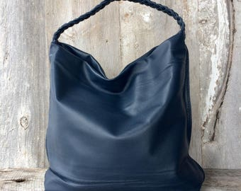 Large Leather Bag in Navy Blue Cowhide - Soft Slouchy Hobo Bag - Handmade - Hand Stitched - Extra Large - Unstructured Boho by Stacy Leigh