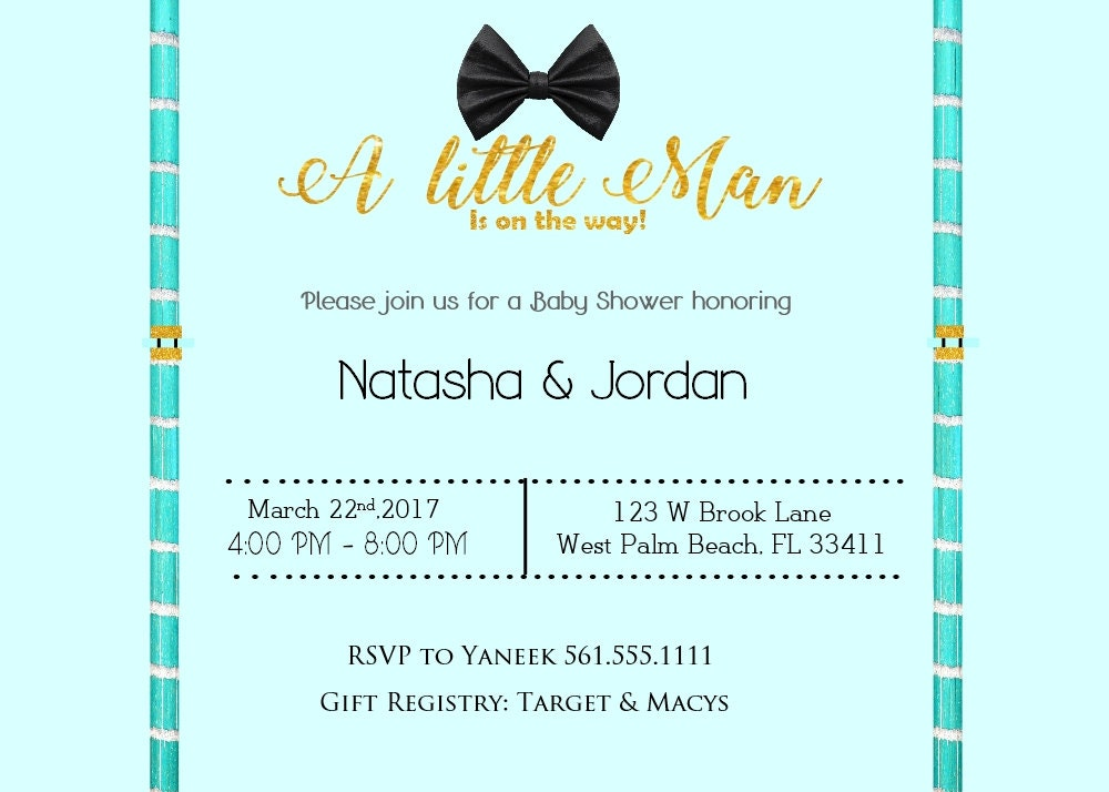 A Little Man Baby Shower Invitation,Little Man, Bow tie, Blue, Gold ...