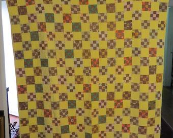 "Antique Nine Patch Block Pattern Quilt Hand Stitched Sewn Quilt 60""x70"""
