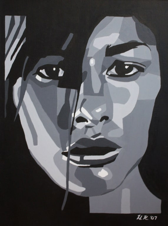 Portrait of a Woman--black and white, print on canvas paper matted and framed