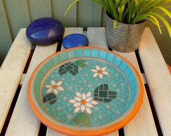 Jade Pink Waterlily Mosaic Garden Yard Bird Bath Ornament Decoration