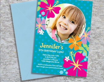 Luau Birthday Party Invitation Photo – DIY Personalized Printable – Tropical Flowers (Digital File)