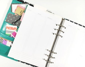 A5 Undated Vertical Weekly layout on Two Pages with Month Space - insert for Filofax or Large Kikki K - minimalist design, sans serif font