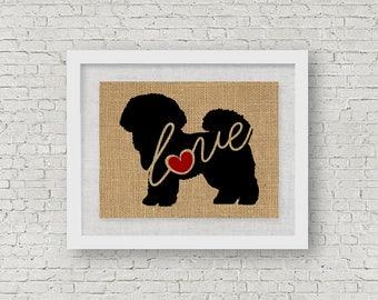 Bichon Frise Love - Wall Art Print on Burlap - Dog Memorial Pet Loss Gift - Rustic Farmhouse Home Decor - More Breeds / Add Name (101s)