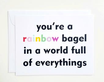 Rainbow Bagel Card