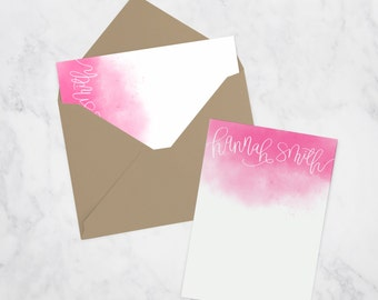 Set of 50 Personalized Watercolor Flat Cards with Envelope | Custom Stationery | Hand Lettered | Thank You Cards | Notecards